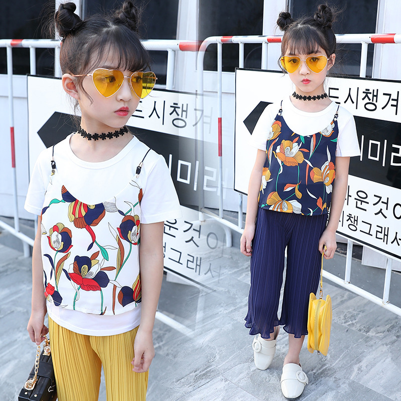 Garment Girl Summer Wear New Pattern Camisole Chiffon Nine Part Wide Leg Pants Three-piece Children Fashion Suit Kids Clothing new jeans female large size loose nine pants pants stripes wide leg pants was thin jeans