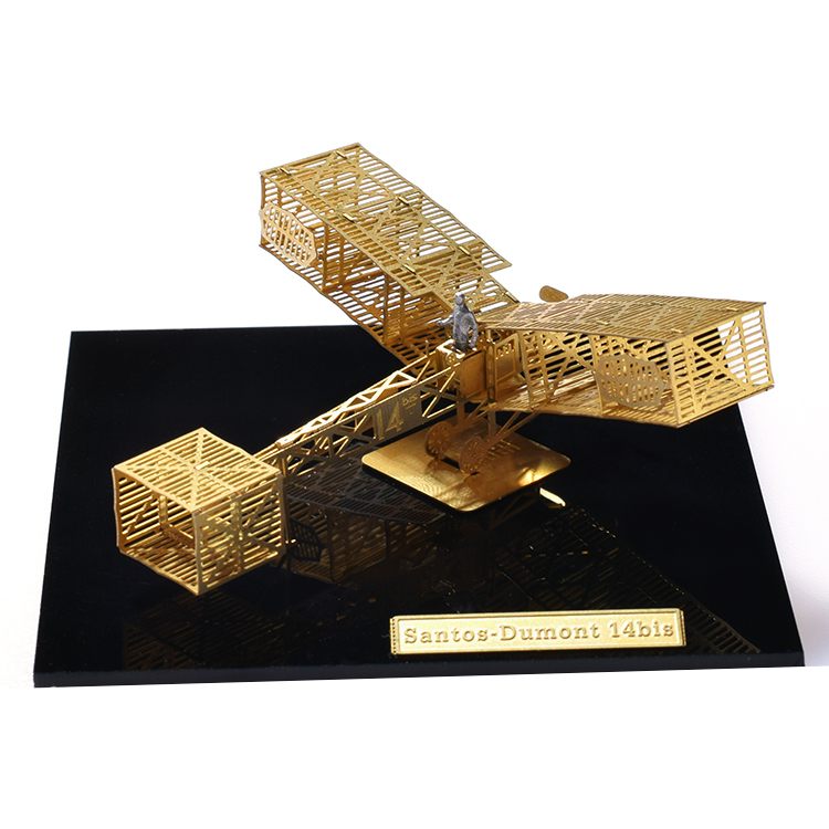1/160 StratoStudio puzzle metal 3D model easy to assemble micro wing series B16012 Santos-Dumont 14bis Airplane toys for gifts image