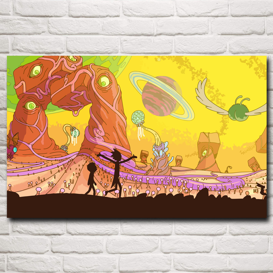 canvas fabric poster custom Rick and Morty adult swim cartoon space ...