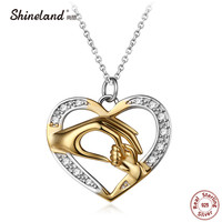 Shineland Mom Loves Baby Hand In Hand 925 Sterling Silver Fashion AAA Zircon Charm Necklace Pendant