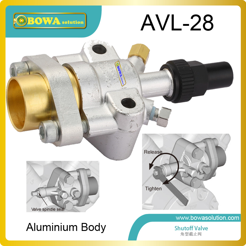 Aluminium body angle shutoff valve with oval flange connection suitable for bus air conditoning compressor or refrigerated truck