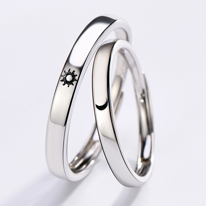Qevila Fashion Silver color Ring Simple Style Moon Sun Love Adjustable Plate S925 Couple Rings For Girls Boy Best Friend Jewelry (13)