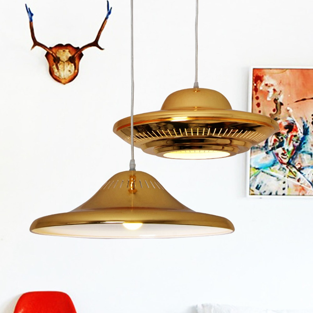 Fashion Golden Coated LED Pendant Light Flying Saucer UFO Droplight Bedroom/Bar/Cafe Art Lighting Fixture 1.2m Line Adjustable led 50ft flying saucer toy