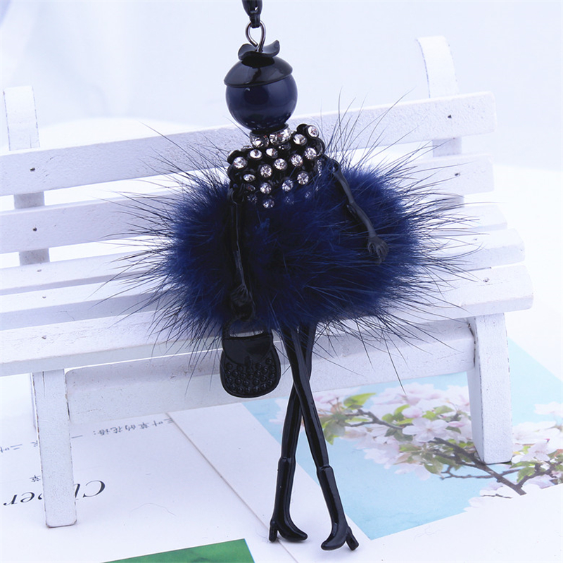 9 Colors New Gun Black Color Rubbit Fur Jewelry Cute Girl Doll Necklace Long Necklace Women Pendant Jewelry Girl Doll Necklace