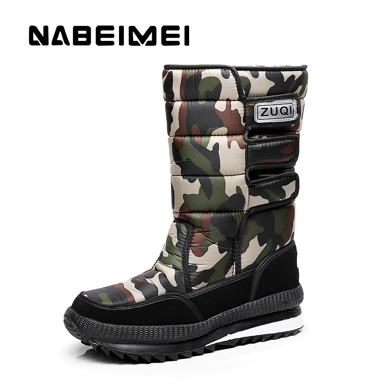 Platform high heels men mid-calf boots waterproof winter snow boots army green short plush hook loop male boot
