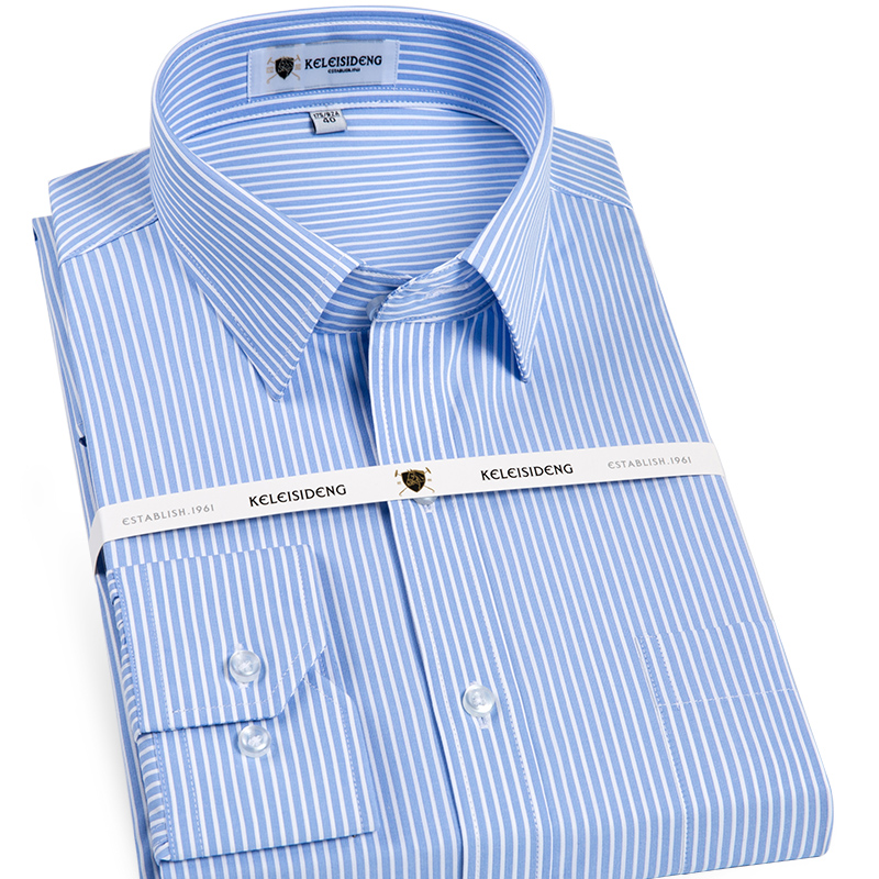 Men's Long Sleeve Standard-fit Striped Shirt With Left Chest Pocket Business Work Office Wrinkle Free Dress Shirts