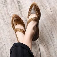 Tyawkiho 2018 Spring Women Leather Flats Pointed Toe Ankle Strap Brand Genuine Leather Flats Retro Handmade