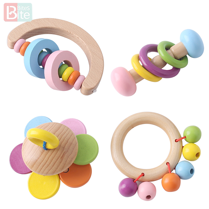Bite Bites 1PC Baby Rattle Toys For Newborns Wood Intelligence Grasping Gums Hand Bell Rattle Funny Educational Toddler Toys