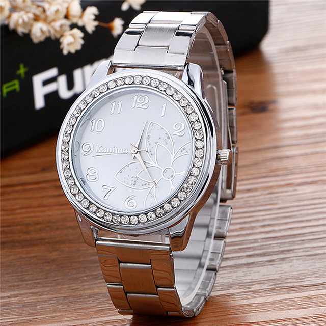 2018 Hot sale Luxury Diamond women Watch Stainless Steel Sport Quartz Wrist Hour Dial Watch relogio feminino Watches Silver gold 4