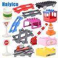 Большие строительные блоки, аксессуары, совместимый набор железнодорожных треков, дорожные знаки, тележки, железнодорожные рельсы, Детские...