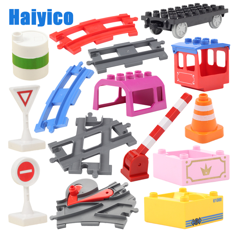 Large Building Blocks Rails Toys Track Accessories Compatible Duplo Track Set Car Traffic Carriages Train Railway Children Gift