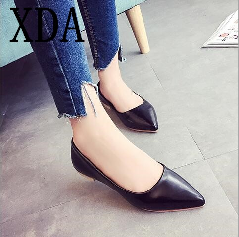 XDA 2018 new fashion Women Flats Shoes Ballet Leather Ladies Casual Shoes pointed toe shallow mouth Single shoes free shipping yiqitazer 2017 new summer slipony lofer womens shoes flats nice ladies dress pointed toe narrow casual shoes women loafers