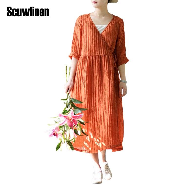 Buy Cheap SCUWLINEN 2017 Spring Summer Dress Women Solid Vintage V-neck Loose Three Quarter Long Linen Dress for Women Casual Vestido S205