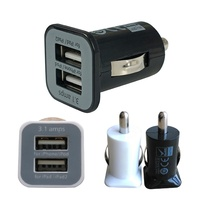 Wholesale 100 Pcs 2 Port Mini Universal Dual USB Car Charger Adapter Bullet 5V 2.1A + 1A for iPad Phone Smartphone