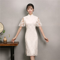 Chinese Style Women Evening Party Dressing Gown Elegant Slim Cheongsam Lace Short Sleeve Qipao Sexy Female Split Vestidos