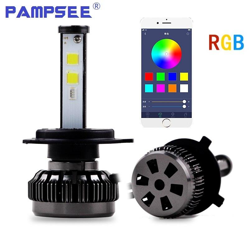 2Pcs Popular Car Multicolors RGB Auto LED Headlight Kits H1 H7 H4 H8 HB3 HB4 881