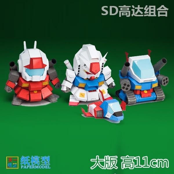 SD Gundam Combination RX178  Gundam 3D Paper Model DIY Handmde Gift