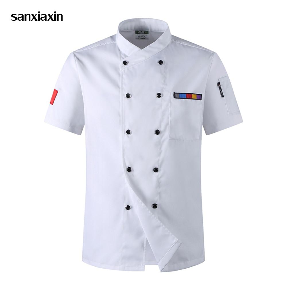 Wholesale Chef Jacket Hotel Chef's Uniform Short Sleeve Mesh Breathable Workwear Catering  Bakery Coat Chef Restaurant Uniform