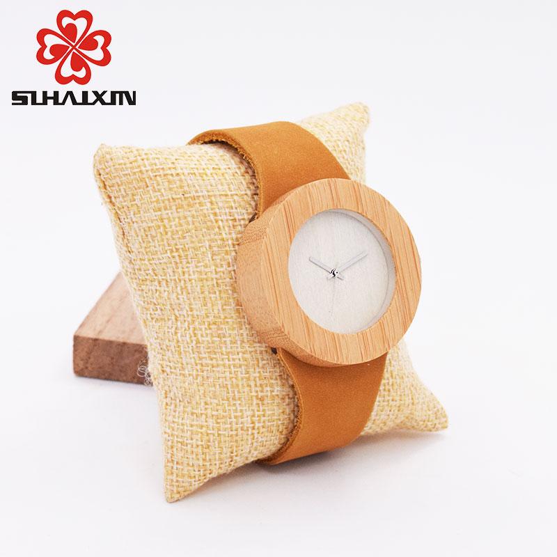 SIHAIXIN Bamboo Wood Watches Menn Fashion Quartz Armbåndsur Leather - Herreklokker - Bilde 4
