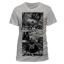 STAR WARS - COMIC STYLED BLACK PRINT GREY T-SHIRT (NEW) Free shipping  Harajuku Tops Fashion Classic Unique Cotton