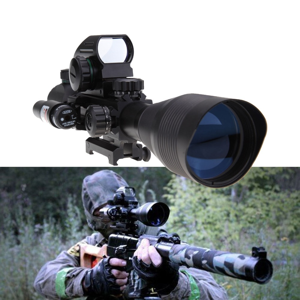 (Shipping From USA) Tactical 4-12X50 EG Rifle Scope with Holographic 4 Reticle Sight & Red Laser JG8 zorssar 2017 new classic winter plush women boots suede ankle snow boots female warm fur women shoes wedges platform boots