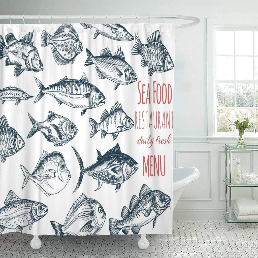 Shower Curtain with Hooks Food Sketch Fish Restaurant Seafood Vintage Design Sea Salmon Mackerel Animal Carp Decorative Bathroom|Shower Curtains| |  - title=