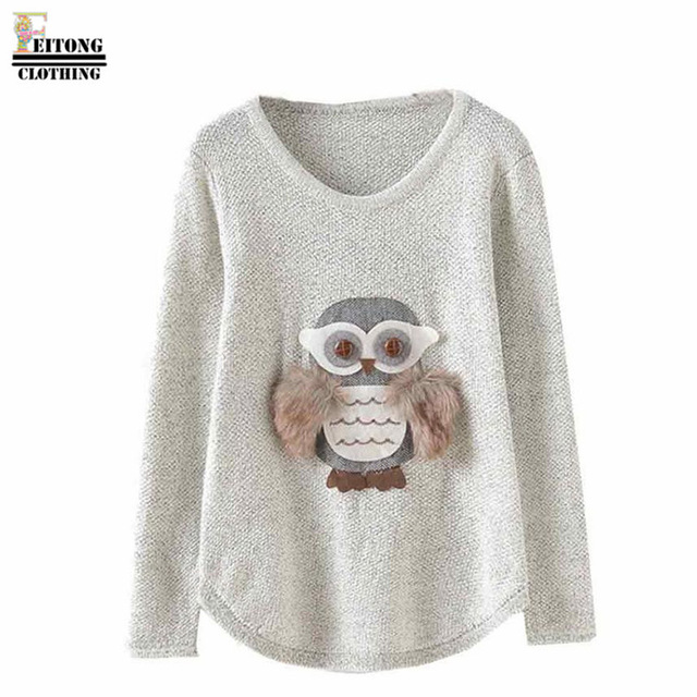 bc8d44bb09db8 FEITONG femme pull 2016 chouette imprimé manches longues lâche col rond  pull tricoté automne hiver pull