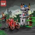 Castillo enlighten educativos bloques de construcción de juguetes para los niños regalos mini catapulta compatible con legoe caballero