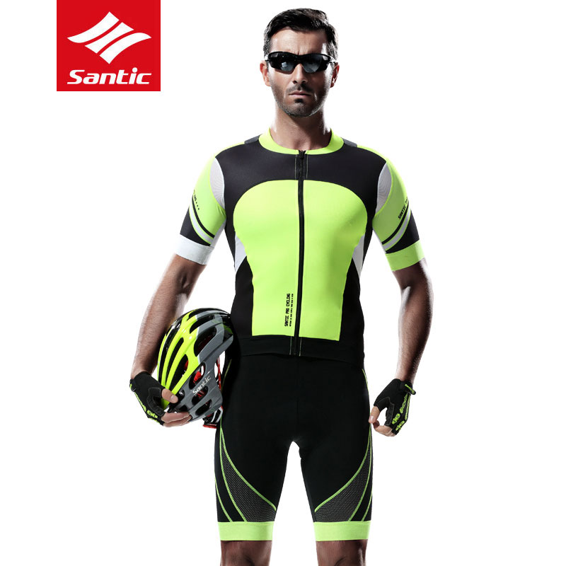 New Santic Summer Cycling Jersey Sets Mens Breathable MTB road bike shirt+4D Padded Shorts Quick Dry Reflective Bicycle Clothing стоимость
