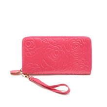 New Brand Fashion Multifunctional Purse Floral Zipper Wallets Real Leather Long Women Purse Clutch Strap Hand Bag Lady Gift Red