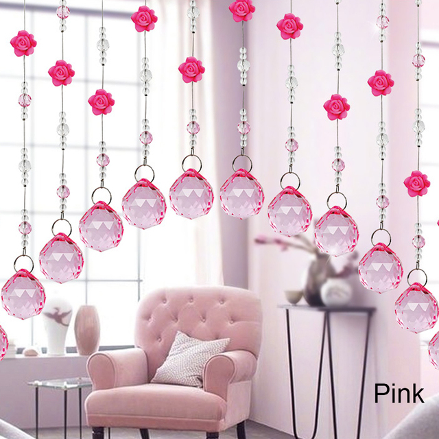 2018 Crystal Glass Rose Bead Curtain Strip String Living Room ...
