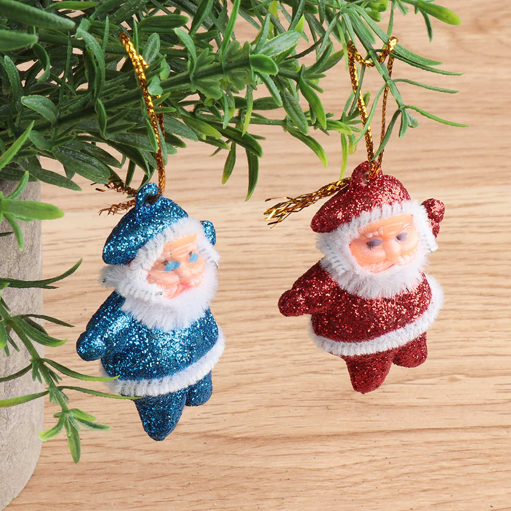 6 pcs חג המולד Drop קישוטי רב צבע סנטה קלאוס מסיבת חג המולד עץ תליית דקור מתנות ילדים טובות קישוט