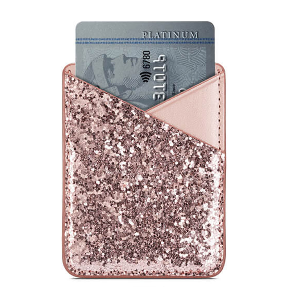 Self-adhesive Sequin Decoration Practical Purse Fashion Stick On Phone Mini Credit Pocket Card Holder Business Wallet Ultra Slim