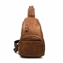 Men's Vintage Genuine Leather Travel   Messenger Shoulder Cross Body Sling Pack Chest Casual Bag LI-820