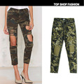 34-44 Euro Big Size Ankle-Length Green Camo Jean Pants Ripped Women Casual Loose Jeans Holes Girl Camouflage jeans Washed Female