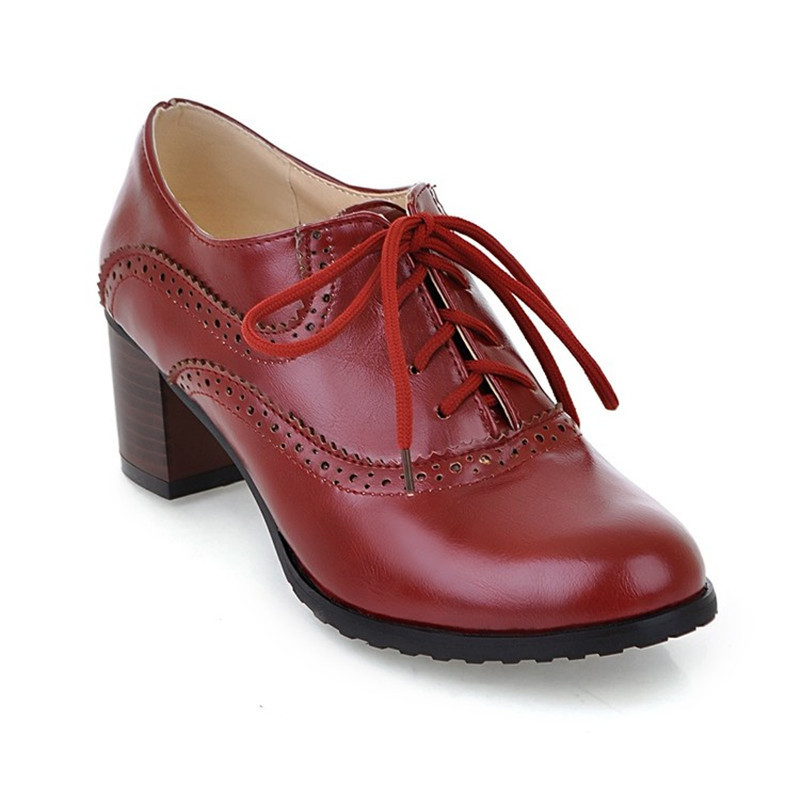 a3710e48fd0 PXELENA Retro British Wing Tip Chunky Block High Heels Oxfords Women Shoes  Round Toe Lace Up Brogue Shoes Lady Collegiate 34 43-in Women s Pumps from  Shoes ...