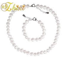 [ZHIXI] Pearl Jewelry Set Natural Pearl Necklace Choker Necklace Bracelet Genuine White Freshwater Fine Jewelry For Women st23