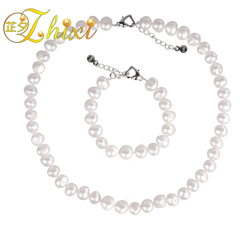 [ZHIXI] Pearl Jewelry Set Natural Pearl Necklace Choker Necklace Bracelet Genuine White Freshwater Fine Jewelry For Women st23 [nymph ]natural pearl necklace pearl jewelry white freshwater choker necklace trendy for wedding party fine jewelry x120