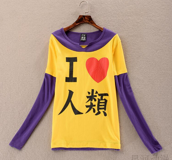 Autumn New T-shirt Anime No Game No Life Cosume Tops  I Love Human Being Long Sleeve T-shirt