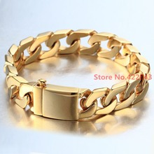 Factory Price! 100% Stainless Steel Bracelet 8.66″ 12mm Jewelry Cuban Chain for Men Gold Wristaband Bangle Christmas Gift