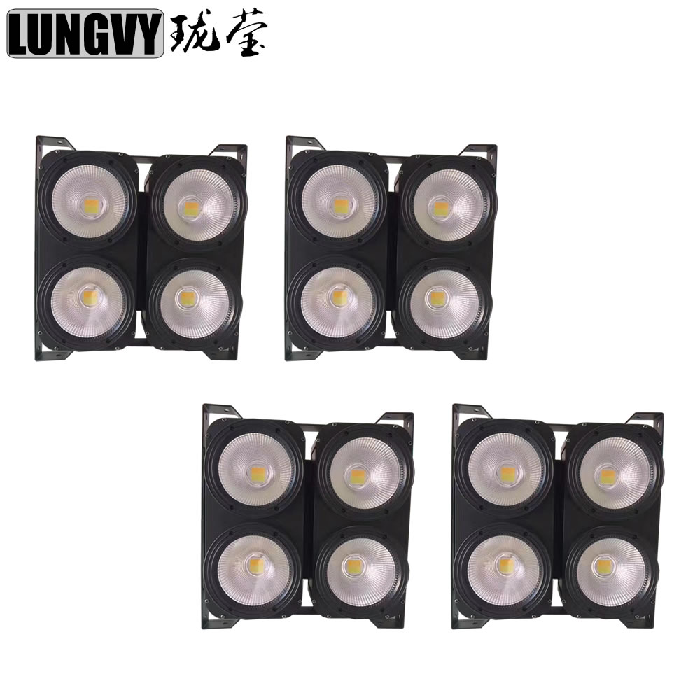 Free Shipping 4pcs/lot Blinder High Power 4x100W White or Warm White LED COB Audience Light For Disco Dj KTV