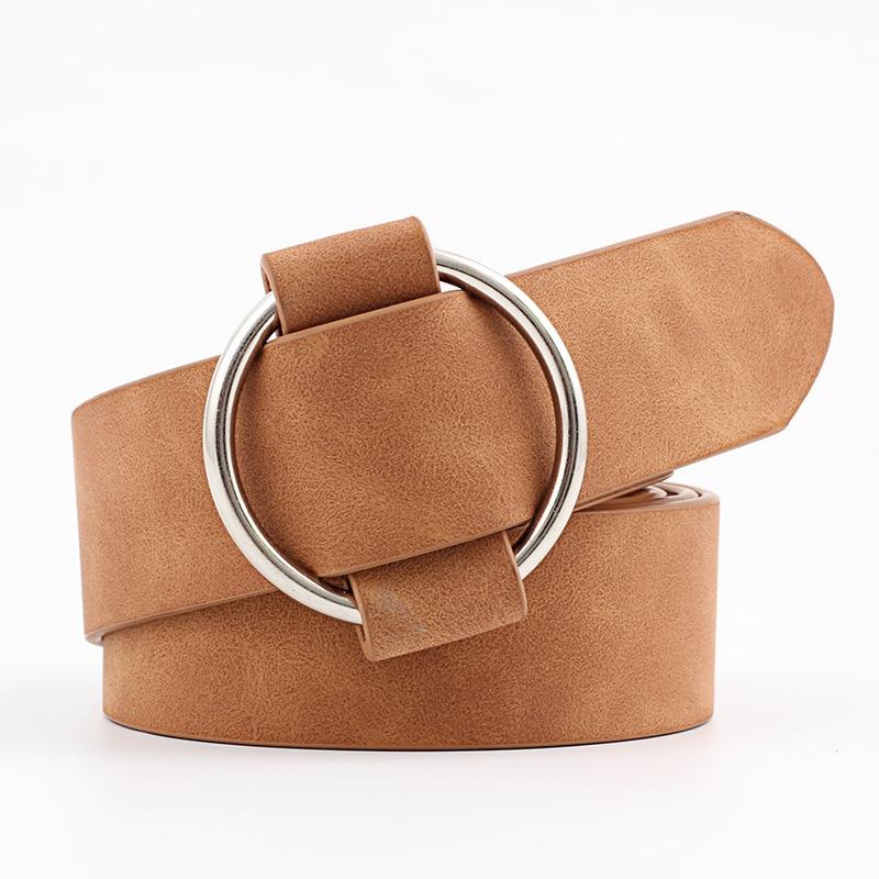 Модный классический круглый ремень с пряжкой, Женский широкий ремень, дизайн, высокое качество, Женские повседневные кожаные ремни для джинсов kemer - Цвет: Style 2 Camel