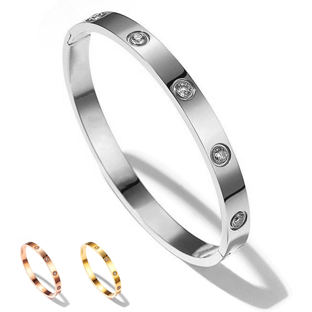 2019 European Luxury Female Bijoux Shining Crystal Bangles for Women Men Lover Romantic Design Silver Gold Rose Bracelets & Exquisite Stainless Steel Jewelry Wedding&Engagement Pulseiras Feminina