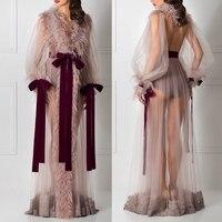 Sunvary перья вечерние платья этаж Длина с длинным рукавом сексуальное платье формальное Иллюзия халат de soiree Line тюль События платье