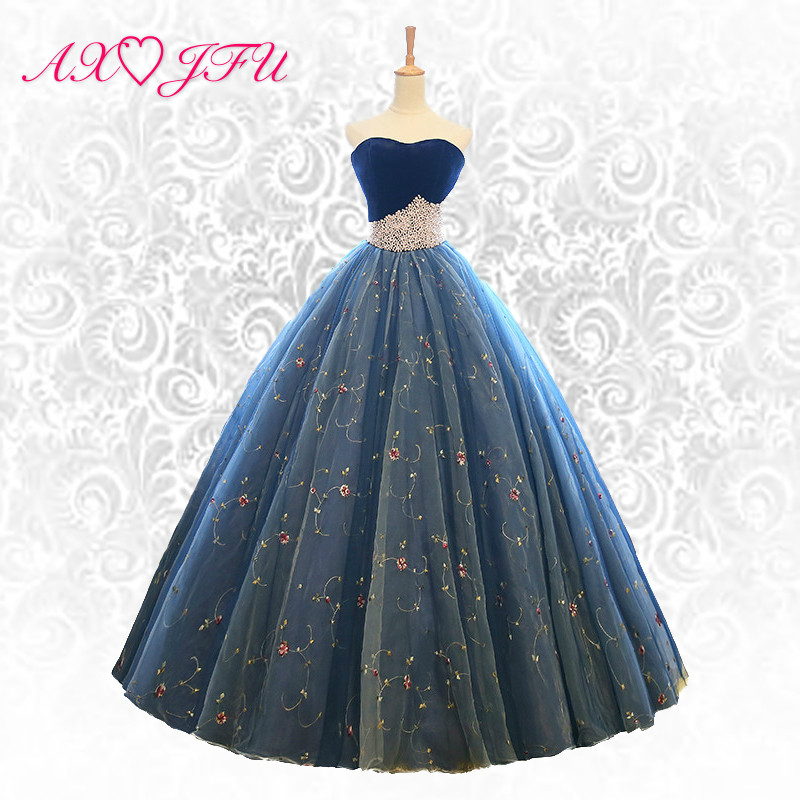 AXJFU Korea princess pearls blue evening dress blue beading flower lace pearls blue lace flower evening dress NY508