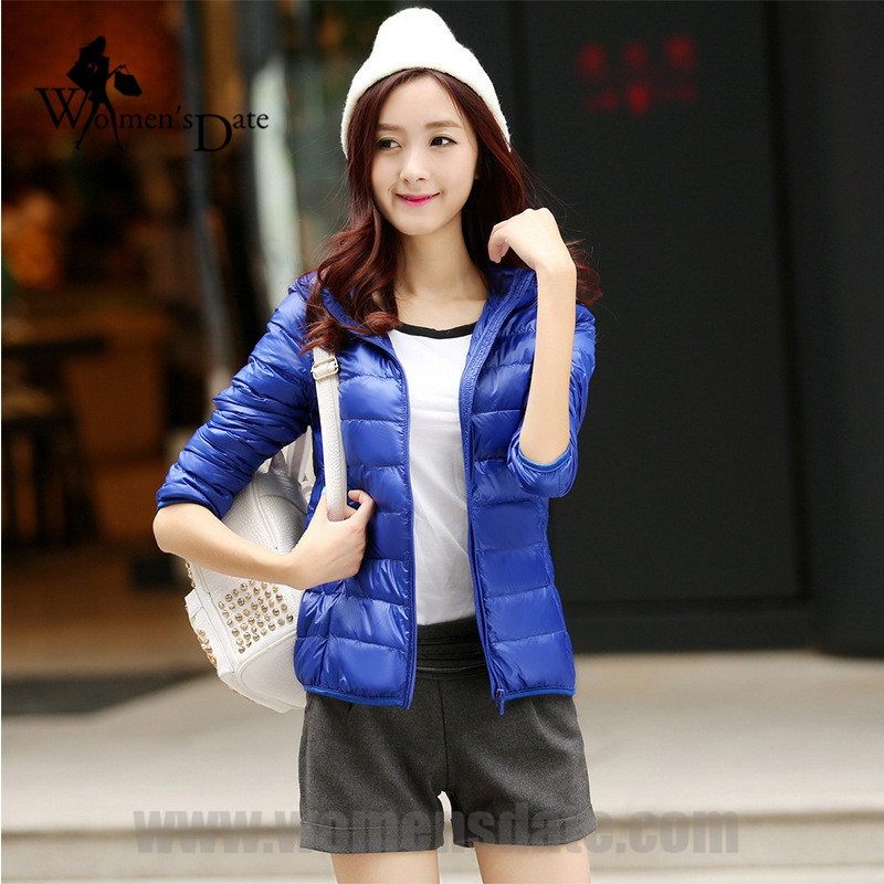 ФОТО WomensDate New 2017 Winter Women Ultra Light 90% White Jackets Women Hooded Slim XXXL Royal Blue