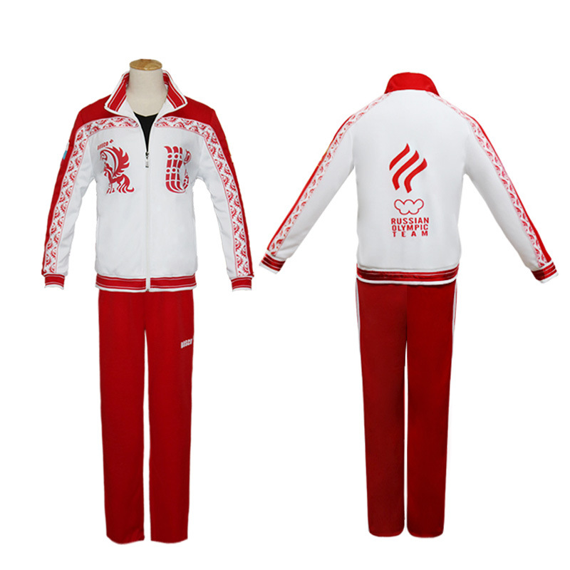 Yuri!!! on Ice Cosplay Costume Japanese Anime Victor Nikiforov Red Jacket Pants Sport Suit Track Suit Halloween Party Costume