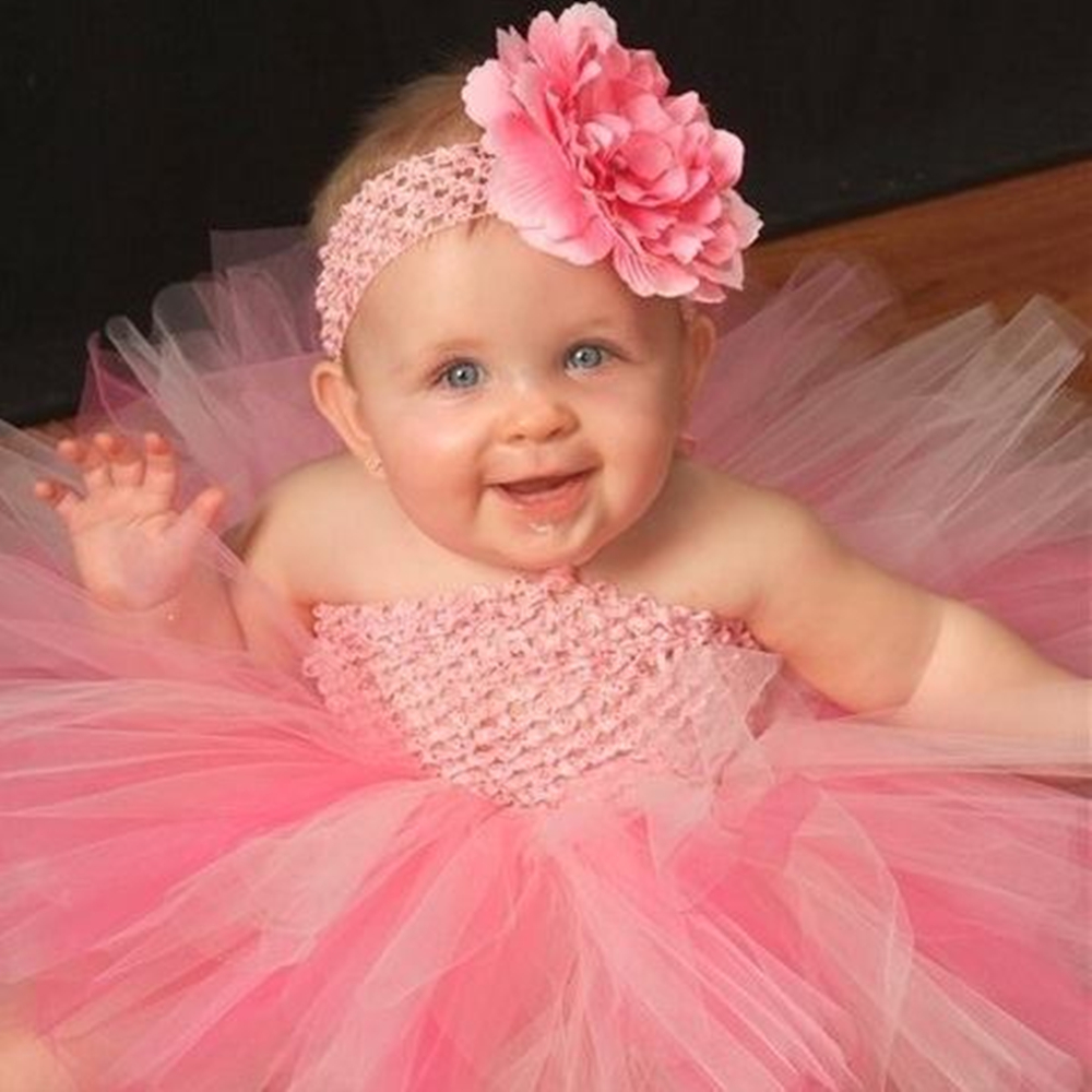 1af8e87f1 Girl Baby Party Tutu Dress Flower Double Layers Fluffy Purple White Pink  Tutu Dress With Headband Birthday Sets For Baby-in Dresses from Mother &  Kids on ...