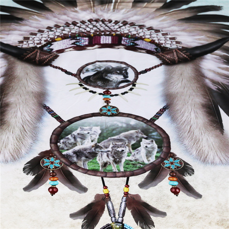 BlessLiving Wolf Dreamcatcher Bedding Indian Dream Catcher Feather Beads Boy Western Bedding 3 Piece Gray Teal Blue Duvet Cover Queen