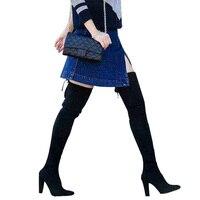 GENSHUO Brand High Heel Boots Women 9CM Over The Knee Botas Mujer Boots Flock Heels Stretch